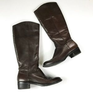 Franco Sarto Brown Leather Knee High Boots 9 Cissy
